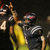 Lauren Wood   Buy at photos.djournal.com<br /> Baldwyn's Marquavious Patterson celebrates the touchdown he just scored during Friday night's game at Baldwyn.