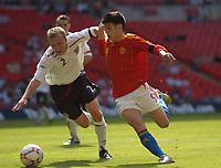 Photo: Olly Greenwood.<br />England U16 v Spain U16. International Friendly. 28/04/2007.  England's Chris Solly and Spain's Daniel Pacheco Lobato