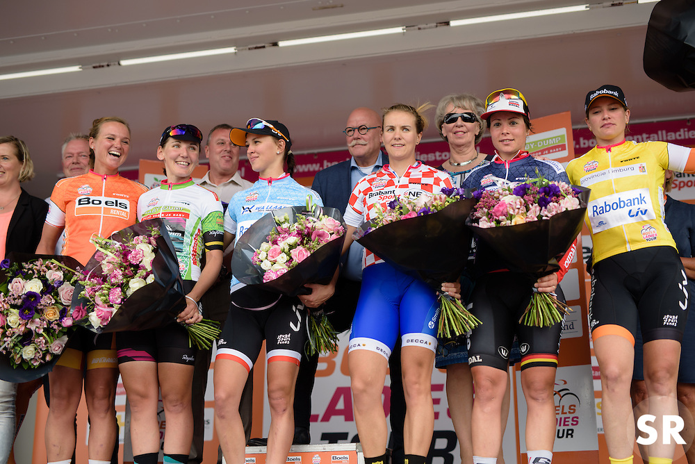 Classification leaders are presented to the crowds after the 116 km Stage 5 of the Boels Ladies Tour 2016 on 3rd September 2016 in Tiel, Netherlands. (Photo by Sean Robinson/Velofocus).