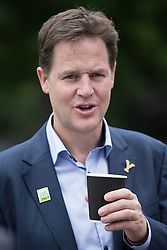 "© Licensed to London News Pictures . 03/07/2014 . Leeds , UK . The Deputy Prime Minister , NICK CLEGG MP , during a coffee break outside the West Yorkshire Playhouse in Leeds today (Thursday 3rd July 2014) . The Liberal Democrat leader and MP for Sheffield Hallam meets cast and crew of production of Maxine Peake's "" Beryl "" based on the life of Beryl Burton , pioneering woman cyclist . Photo credit : Joel Goodman/LNP"