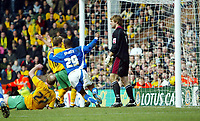 Photo: Chris Ratcliffe.<br /> Norwich City v Ipswich Town. Coca Cola Championship. 05/02/2006.<br /> Danny Haynes scoring the winning goal for Ipswich