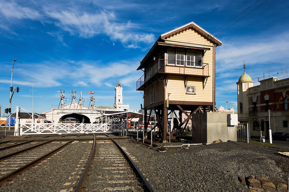 signal box and Ballarat Railway Station