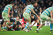 Twickenham, Surrey United Kingdom. Danny CARE, passing out the ball. during the England vs Argentina. Autumn International, Old Mutual Wealth series. RFU. Twickenham Stadium, England. <br /> <br /> Saturday  11.11.17.    <br /> <br /> [Mandatory Credit Peter SPURRIER/Intersport Images]