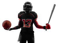 one american football player holding basket base ball bat in silhouette shadow on white background