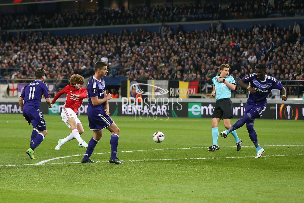 Marouane Fellaini Midfielder of Manchester United shoots at goal during the UEFA Europa League Quarter-final, Game 1 match between Anderlecht and Manchester United at Constant Vanden Stock Stadium, Anderlecht, Belgium on 13 April 2017. Photo by Phil Duncan.