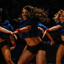 Dec 6, 2017; New Orleans, LA, USA; against the New Orleans Pelicans dance team during the second half against the Denver Nuggets at the Smoothie King Center. The Pelicans defeated the Nuggets 123-114. Mandatory Credit: Derick E. Hingle-USA TODAY Sports