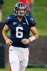 Virginia quarterback Marc Verica (6) in pre-game warmups. The Virginia Cavaliers defeated the Maryland Terrapins 31-0 in NCAA football at Scott Stadium on the Grounds of the University of Virginia in Charlottesville, VA on October 4, 2008.