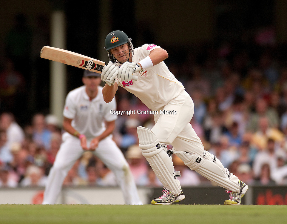 Shane Watson bats during the fifth and final Ashes test match between Australia and England at the SCG in Sydney, Australia. Photo: Graham Morris (Tel: +44(0)20 8969 4192 Email: sales@cricketpix.com) 03/01/11
