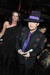 BOY GEORGE and TRISH SIMONON at the Hoping Variety Show - A benefit evening for Palestinian Refugee Children held at The Cafe de Paris, Coventry Street, London on 21st November 2011.