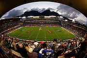 Image of Newlands rugby stadium with Table mountain in background. Semi-final clash between the Stormers and the Crusaders at Newlands during the Super 15 rugby series at Newlands. The Crusaders beat the Stormers in the semi-finals at Newlands, Cape Town, during Super 15 rugby series. Image by Greg Beadle