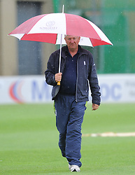 Umpire Martin Bodenham walks off after abandoning the game - Mandatory byline: Alex Davidson/JMP - 07966386802 - 24/08/2015 - Cricket - County Ground -Taunton,England - Somerset CCC v Worcestershire CCC - LV= County Championship Division One - Day 4