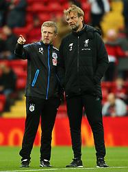 Liverpool manager Jurgen Klopp talks with Huddersfield Town assistant head coach Christoph Buhler - Mandatory by-line: Matt McNulty/JMP - 28/10/2017 - FOOTBALL - Anfield - Liverpool, England - Liverpool v Huddersfield Town - Premier League