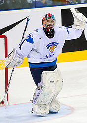 Teemu Lassila of Finland celebrates after the ice-hockey match between Russia and Finland of Group E in Qualifying Round of IIHF 2011 World Championship Slovakia, on May 9, 2011 in Orange Arena, Bratislava, Slovakia. Finland defeated Russia after overtime and shootout 3-2. (Photo By Vid Ponikvar / Sportida.com)