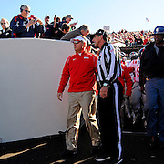 Mississippi head coach Hugh Freeze prepares to take the field before an NCAA college football game against Arkansas in Little Rock, Ark., Saturday, Oct. 27, 2012. (Photo/Thomas Graning)