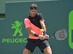 March 30, 2018 - Miami, FL, United States - KEY BISCAYNE, FL - MARCH 30: Juan Martin Del Potro (ARG) in action here, loses 16 67(2) to John Isner (USA) during day 12 of the 2018 Miami Open held at the Crandon Park Tennis Center on March 29, 2018 in Key Biscayne, Florida. (Credit Image: © Andrew Patron via ZUMA Wire)