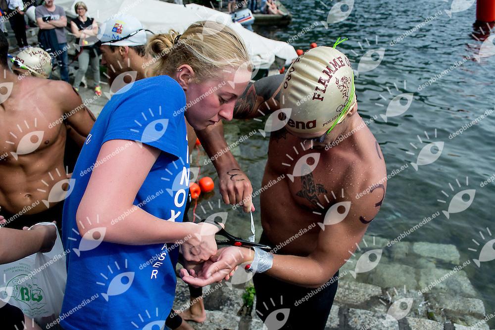 Federico Vanelli Fiamme Oro<br /> 10 km uomini<br /> Omegna (Verbania), Lago D'Orta<br /> FIN 2016 Campionato Italiano Assoluto Nuoto di Fondo <br /> <br /> Day 02 11-06-2016<br /> Photo Laura Binda/Deepbluemedia/Insidefoto
