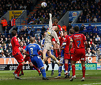 Photo: Steve Bond/Richard Lane Photography. <br />Leicester City v Colchester United. Coca Cola Championship. 12/04/2008. Keeper Dean Gerken punches clear under Leicester pressure