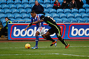 Carlisle United Forward Derek Asamoah on the attack during the Sky Bet League 2 match between Carlisle United and York City at Brunton Park, Carlisle, England on 23 January 2016. Photo by Craig McAllister.