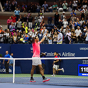 August 29, 2017 - New York, NY : The Spanish tennis player Rafael Nadal, in pink, waves to the crowd after defeating the Serbian player Dušan Lajović in Arthur Ashe Stadium on the second day of the U.S. Open, at the USTA Billie Jean King National Tennis Center in Queens, New York, on Tuesday afternoon. <br /> CREDIT : Karsten Moran for The New York Times