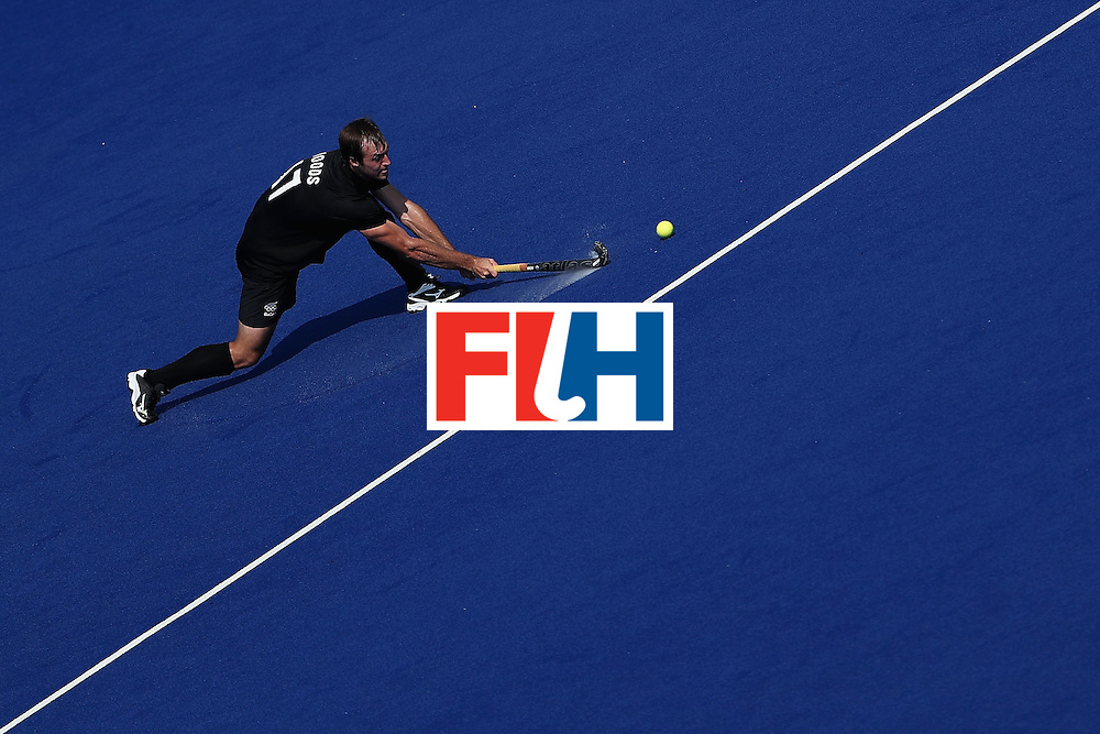 RIO DE JANEIRO, BRAZIL - AUGUST 09:  Nic Woods #17 of New Zealand passes the ball during the hockey game against Spain on Day 4 of the Rio 2016 Olympic Games at the Olympic Hockey Centre on August 9, 2016 in Rio de Janeiro, Brazil.  (Photo by Christian Petersen/Getty Images)