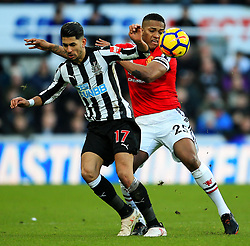 Ayoze Perez of Newcastle United battles with Luis Antonio Valencia of Manchester United - Mandatory by-line: Matt McNulty/JMP - 11/02/2018 - FOOTBALL - St James Park - Newcastle upon Tyne, England - Newcastle United v Manchester United - Premier League