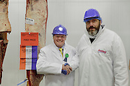 Scottish National Premier Meat Exhibition & competition to promote Scottish livestock from farm to consumer, sponsored by Marks & Spencer. Held at Scotbeef Ltd, Bridge of Allan, Saturday 19th Novermber, 2011...Scotbeef Silver Steer for the champion beef carcase, George McFadzean Jnr, Woodhead of Mailer, Perth. Pic with George and judge, Glen Dolan