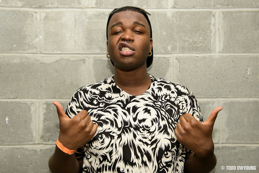 Cakes Da Killa poses for a portrait backstage after performing at the Red Bull Sound Select at Rough Trade in New York City on July 15, 2014.