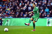 Claudio Bravo (1) of Manchester City passes the ball during the EFL Cup Final match between Arsenal and Manchester City at Wembley Stadium, London, England on 25 February 2018. Picture by Graham Hunt.