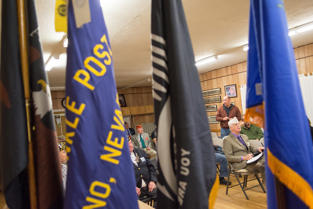 Erich Kolbe of American Legion Post 1 in Reno, Nev. speaks at a System Worth Saving town hall on Tuesday, March 8, 2016. Photo by David Calvert /The American Legion.
