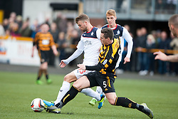 Falkirk's Rory Loy and Alloa Athletic's Jason Marr.<br /> Half time : Alloa Athletic 0 v 0 Falkirk, Scottish Championship 12/10/2013. played at Recreation Park, Alloa.<br /> &copy;Michael Schofield.