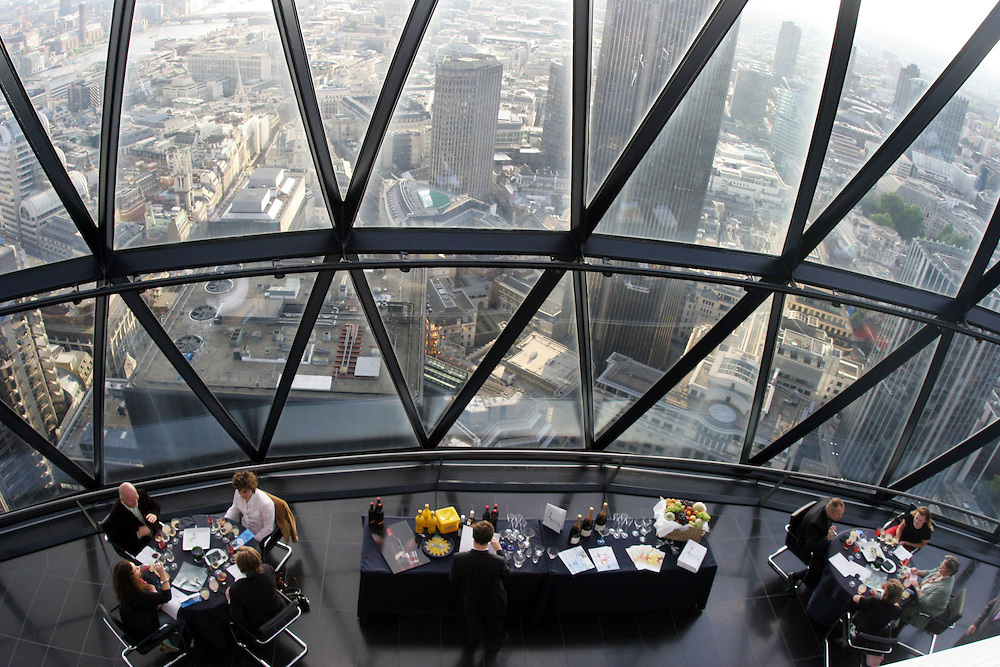 UK. London. an exclusive PR event at the top of the Gherkin. Officially called 30 St Mary Axe but affectionately named the Gherkin by Londoners