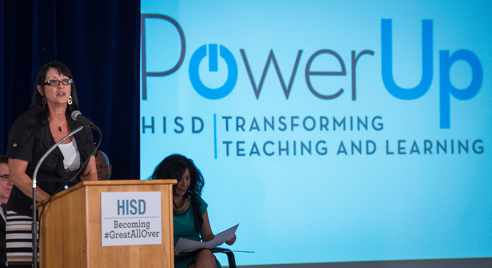 Carol J Mosteit comments during a news conference on Houston ISD's Cyber Safety initiative at the High School for Law Enforcement and Criminal Justice, August 13, 2014.
