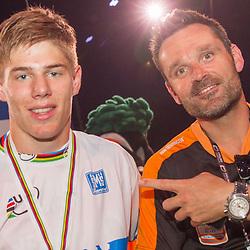 27-07-2014: Wielrennen: WK BMX : Rotterdam wereldkampioen Niek Kimman en coach Bas de Bever