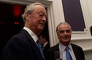 The Duke of Marlborough and Sir Tim Bell, Hot Ice party hosted by Dominique Heriard Dubreuil and Theo Fennell, ( Remy Martin and theo Fennell) at 35 Belgrave Sq. London W1. 26 October 2004. ONE TIME USE ONLY - DO NOT ARCHIVE  © Copyright Photograph by Dafydd Jones 66 Stockwell Park Rd. London SW9 0DA Tel 020 7733 0108 www.dafjones.com