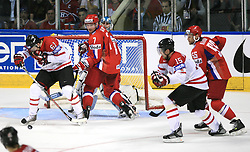 Rick Nash (61) of Canada infront of Dmitri Kalinin (7) of Russia and goalkeeper Evgeny Nabokov at  ice-hockey game Canada vs Russia at finals of IIHF WC 2008 in Quebec City,  on May 18, 2008, in Colisee Pepsi, Quebec City, Quebec, Canada. Win of Russia 5:4 and Russians are now World Champions 2008. (Photo by Vid Ponikvar / Sportal Images)
