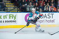 KELOWNA, CANADA - APRIL 14: Reid Gardiner #23 of the Kelowna Rockets skates with the puck and looks for the pass against the Portland Winterhawks on April 14, 2017 at Prospera Place in Kelowna, British Columbia, Canada.  (Photo by Marissa Baecker/Shoot the Breeze)  *** Local Caption ***