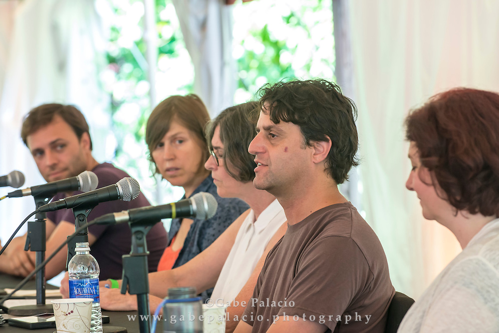 Moderator Carol Parkinson, Executive Director of Harvestworks, leads a panel discussion of Sonic Delights artists Betsey Biggs (Sunken Gardens), Ranjit Bhatnagar (Stone Song), Aaron Taylor Kuffner (Gamelatron Sanctuary: Suara Sinar), and Melanie Armer (Sisyphus 2.0, and Producer of the exhibition) exploring their work at the Sonic Delights Festival celebrating the In the  Garden of Sonic Delights sound art exhibition at Caramoor in Katonah New York on July 20, 2014. <br /> (photo by Gabe Palacio)