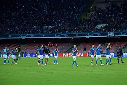 NAPLES, ITALY - Wednesday, October 3, 2018: Napoli players celebrate during the UEFA Champions League Group C match between S.S.C. Napoli and Liverpool FC at Stadio San Paolo. (Pic by David Rawcliffe/Propaganda)