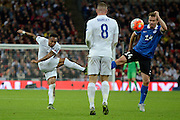 England defender Nathaniel Clyne  has a shot during the Group E UEFA European 2016 Qualifier match between England and Estonia at Wembley Stadium, London, England on 9 October 2015. Photo by Alan Franklin.