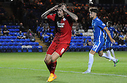 Horror moment for Sonny Bradley as he puts his close range effort wide during the Capital One Cup match between Peterborough United and Crawley Town at London Road, Peterborough, England on 11 August 2015. Photo by Michael Hulf.