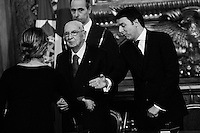 ROME, ITALY - 22 February 2014:  Italian Matteo Renzi swears in as Italy's youngest Prime Minister with the 16 ministers of his cabinet by President Giorgio Napolitano during a ceremony at the Quirinale, the presidential palace in Rome, Italy, on on February 19th 2014.