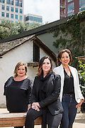 Clever Girls Collective Founders, Kristy Sammis, Cat Lincoln, and Stefania Pomponi (from left to right), pose for a portrait at San Pedro Square Market in San Jose, California, on May 18, 2015. (Stan Olszewski/SOSKIphoto)