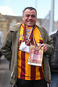 Bradford City fan during the Sky Bet League 1 play off first leg match between Bradford City and Millwall at the Coral Windows Stadium, Bradford, England on 15 May 2016. Photo by Simon Davies.