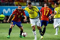 Edwin Cardona of Colombia and Koke Resurrecci?n and Iago Aspas of Spain during the friendly match between Spain and Colombia at Nueva Condomina Stadium in Murcia, jun 07, 2017. Spain. (ALTERPHOTOS/Rodrigo Jimenez)