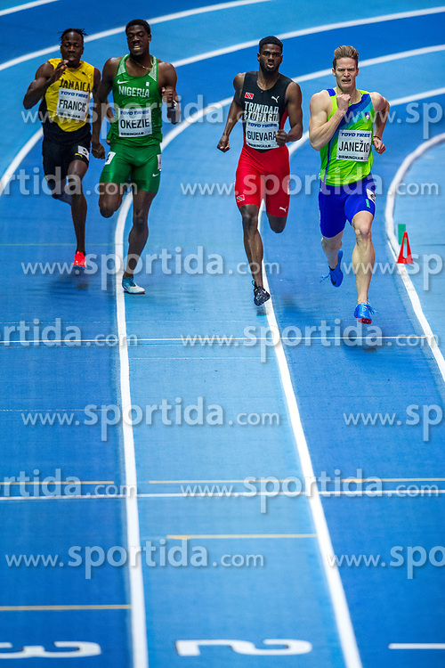 BIRMINGHAM, ENGLAND - MARCH 02: (L-R) Javon Francis of Jamaica, Chidi Okezie of Nigeria, Asa Guevara from Trinidad and Tobago and Luka Janezic of Slovenia compete during round 1 of the Men's 400m at the IAAF World Indoor Championships at Arena Birmingham on March 2, 2018 in Birmingham, England. Photo by Ronald Hoogendoorn / Sportida