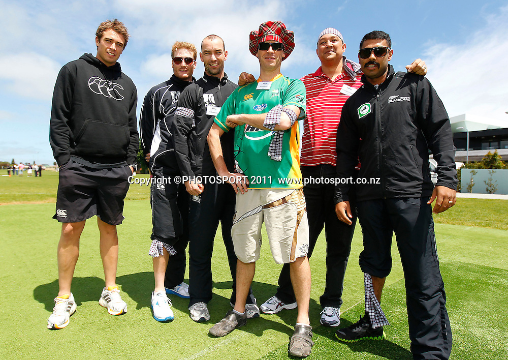 Tim Southee, Martin Guptill, Andy McKay and Jiten Patel with HRV staff members during the HRV Cup Cricket Blackcaps Day, Papatoetoe Recreation Centre, Auckland, 10 November 2011. Photo: Simon Watts / photosport.co.nz
