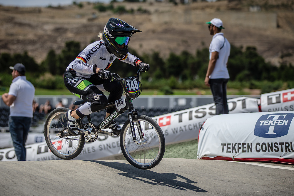 Women Junior #148 (ENDLEIN Carina) GER at the 2018 UCI BMX World Championships in Baku, Azerbaijan.