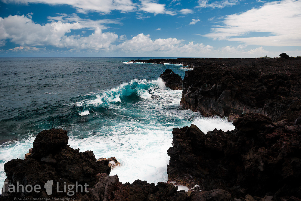 Waves crashing along the coast of lower Puna on the big island of Hawaii.