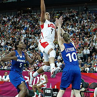 11 August 2012: USA Maya Moore goes for the layup against France Florence Lepron during 86-50 Team USA victory over Team France, during the Women's Gold Medal Game, at the North Greenwich Arena, in London, Great Britain.