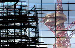 Scaffolding is removed to show the view for the first time from The Aquatics Centre to The Orbit buring the legacy phase on The Queen Elizabeth Park.